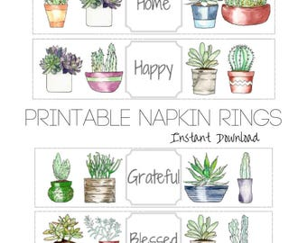Cactus Party Napkin Ring Printable, Succulent Party, Housewarming Party Printable, Napkin Wrap, Napkin Ring Download, Silverware Bundle