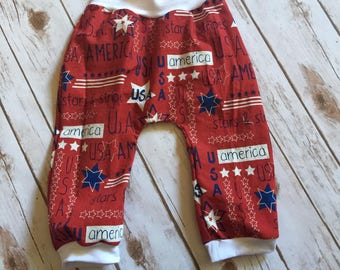 Bitty Bubble Pants -- 4th of July -- Red w/patriotic sayings