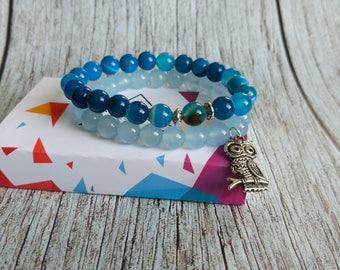 Aquamarine and blue stripe agate bracelets sets. Mala, yoga bracelets. Owl charm. Reiki, protection, energy jewelry. 8 mm gemstone beads