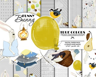 Bunny Digital Paper Animal Paper Pack Nursery Paper Pack Baby Digital paper Bunny Pillows Paper Pack Watercolor Bunny Paper Childen Party