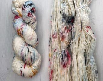 Hand dyed yarn, single ply yarn, sock yarn, knitting yarn, merino blend, speckled, colorful