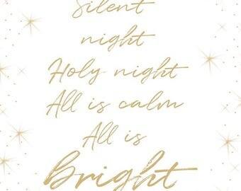 Silent night song lyrics artwork, instant digital download