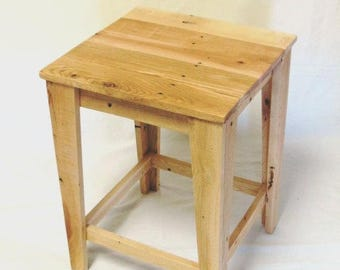 Custom made reclaimed wood side table