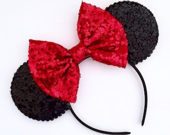 The Full Sequin (Black) - Handmade Mouse Ears Headband