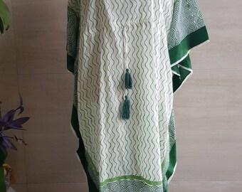 Cotton Kaftan~ 100% Cotton with tassles  (long)