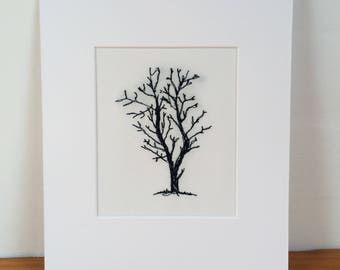 One of a kind mounted embroidered tree