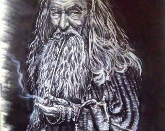 Gandalf the grey pencil more ink more posca on a3 paper