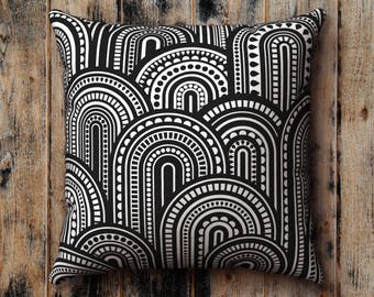 Black and White Pillow Case, Sixties Monochrome Scandinavian Nordic Pattern, Graphic, Cushion Cover, Pillow Sham