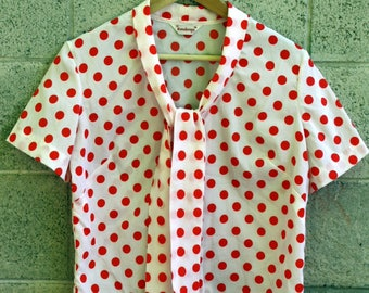1960s Red and White Polka Dot Blouse
