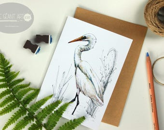 White Heron - Kotuku, folded card from the New Zealand native birds series by Emilie Geant, from original watercolor painting