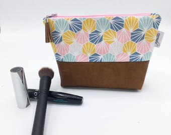 Cotton pouch and leather