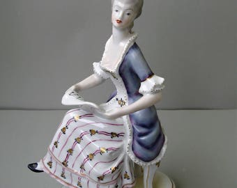 Large Vintage Hungarian Hollohaza porcelain,baroque lady with music sheet