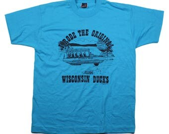 Vintage 90s I Rode The Original Wisconsin Ducks Sky Blue Tee Shirt