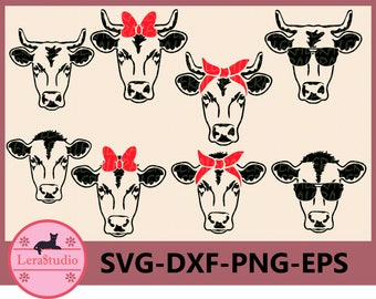 60 % OFF, Cow SVG, Farm svg, Cow with Bandana svg, Cow in Sunglasses Svg, Cow face  SVG, dxf, ai, eps, png, Silhouette svg, Vector svg