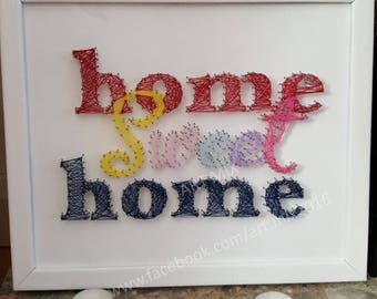 Home Sweet Home Art // Nails and Thread // Framed // cm x cm // Free Postage