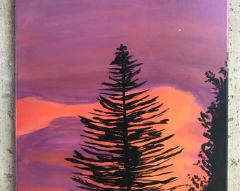 Trees at Sunset Canvas Painting