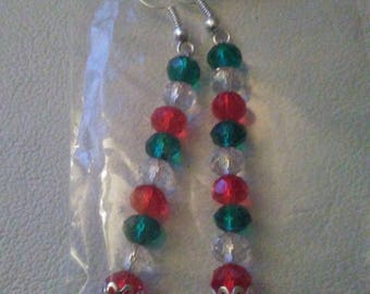 Crystal Christmas Sticks with Sterling Silver bead caps