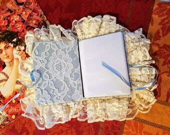 1990s Victorian Lace Photo Album in Cream and Blue holds 20 pictures 5x7 prints pictures family vintage wedding child birth anniversary