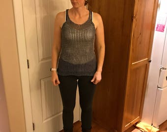 Mixed grays knitted tank top.