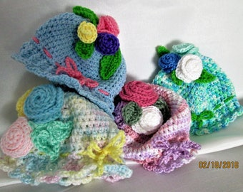 Baby Hats! Flowers! Easter! Spring! Crocheted Roses! Handmade! Darling! Cute! Assortment of colors to choose from!