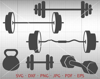 Dumbbell SVG, Barbell SVG, Weight SVG, Workout Svg, Muscles svg, Gym svg Clipart Silhouette Cricut Cut File Commercial Use