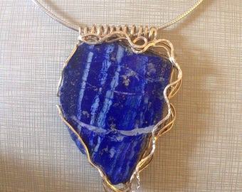 Pendant (Pendant), Silver Gold and lapis lazuli.