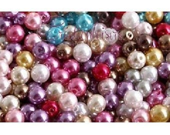 40 multicolored glass Pearl 6 mm beads