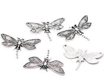 3 large pendants charms charm Dragonfly 49 x 31 mm