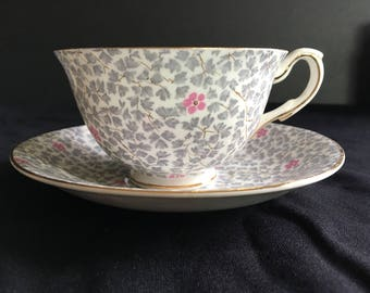 Vintage 1939-1950 mark Taylor and Kent Bone China Floral Pattern Cup and Saucer
