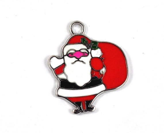 Enamel Christmas Santa Claus Charm - 28 x 24mm - Santa Pendant - Christmas Jewellery - Jewellery and Craft Supplies by DeeDeeSupplies