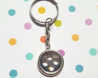 Button keyring, Button bag charm, Button jewellery, Button, Button lovers, Quirky keyring, Gift idea, Gifts for crafters