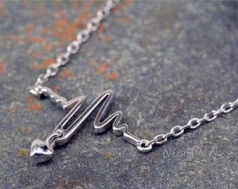 Silver necklace with pendant Heart Necklace ladies 925 Silver Chain jewelry SKE184