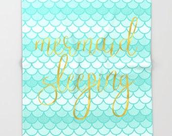 Mermaid Sleeping, Adult Mermaid Blanket Kids, Mermaid Scales, Fleece Blanket, Kids Bedroom Decor, Girls Birthday Gift, Playroom Decor