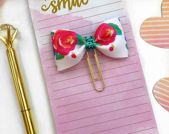 Floral Planner Paper Clip / Planner Clips /  Floral Bow Planner Clips