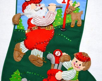 "Hand made Santa Golfing Bucilla felt appliqué completed 21"" Christmas Stocking~ready to hang"