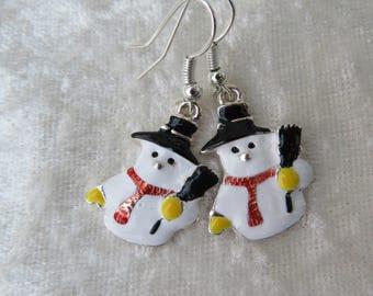 Enamel snowmen earrings