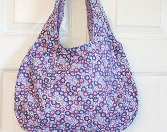Roomy, reversible hand-made bag in bright fun print.
