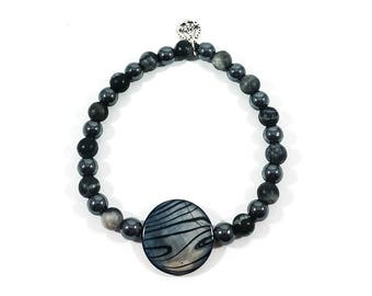 Dark Moon Rising~ Handmade Stretch Charm Bracelet~ Genuine Hematite & Natural Shell Disc~ Sterling Silver Peace Sign ~For Men or Women