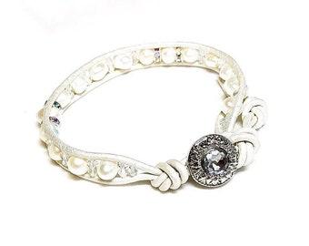 Classy Girl Pearls~Handmade Wrap Bracelet~White Metallic  Leather~Freshwater Pearl Bracelet~Swarovski Crystals