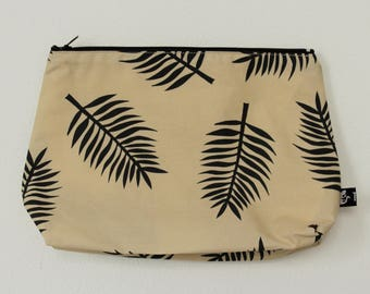 Zipper pouch | cosmetics bag | make-up bag |  printed design | pencil case |  rubber stamp | fern | leaves