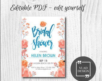 Editable Bridal Shower Invitation, Editable PDF, Watercolor bridal shower invite, Printable invitation, Bridal shower template,Edit yourself