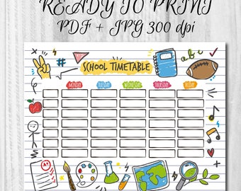 Printable School timetable Hand drawn timetable School planner Ready to print planner Printable timetable