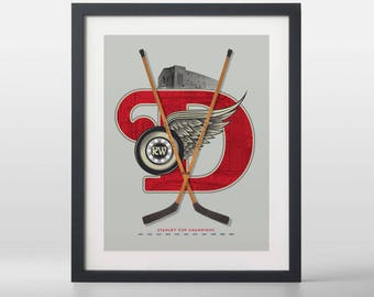 Detroit Red Wings-inspired Hockey Art Print