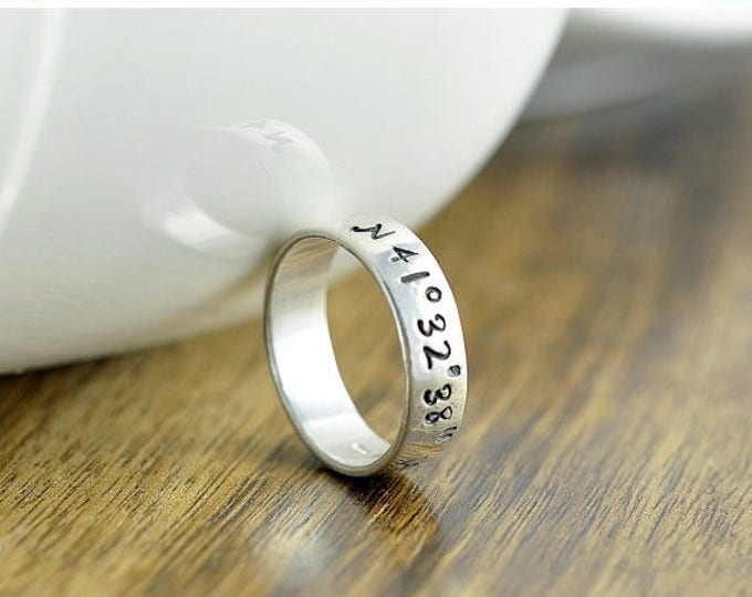 10% off SALE Coordinate Ring, Latitude Longitude Ring, Custom Coordinates, Coordinate Jewelry, Hand Stamped Ring, Sterling Silver Ring