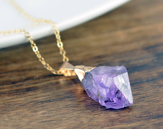 Amethyst Crystal Necklace, Amethyst Necklace, Healing Crystal Necklace, Amethyst Jewelry, Raw Amethyst, Amethyst Point Pendant