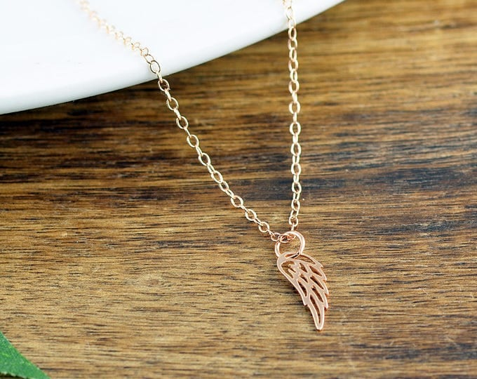 Rose Gold Wing Necklace, Angel Wing Charm Necklace, Memorial Necklace, Memorial Jewelry, Wing Necklace, Remembrance Gifts