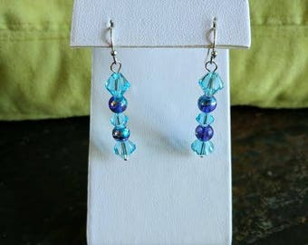 Swarovski crystal turquoise dangle earrings