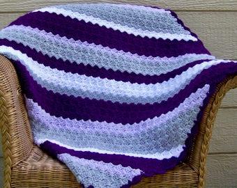 Crochet afghan / Purple Blanket / Home decor / Throw / Adult throw blanket / Sofa throws / Sofa blanket