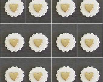 12 x Heart Toppers, Wedding Heart Decorations, Edible hearts, Gold hearts