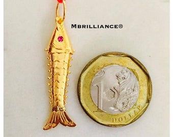 4cm 22k solid 916 gold fish pendant